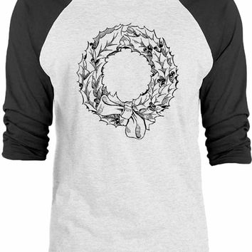 Big Texas Christmas Wreath and Bow 3/4-Sleeve Raglan Baseball T-Shirt