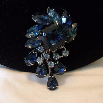 Sapphire Blue Square Rhinestone Flower Brooch & Rhinestone Layered Silver Plate Pin 2 1/4""