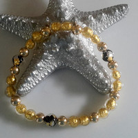 Gold Murano Beaded Stretch Bracelet
