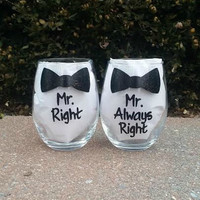 Gay Wedding Mr. Right Mr. Always Right handpainted wine glass set