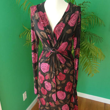 Max & Co by Max Mara Black Red Rose Flower V-Neck Knot Designer Dress Sz M