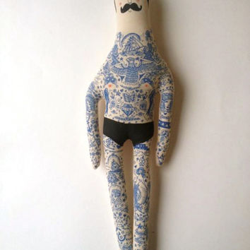 Large Vintage inspired Handmade Hipster Art Doll - Sailor with Mustache and Navy Blue Tattoos OOAK