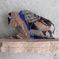 Native American Large Buffalo Figurine / Southwest Home Decor / Old West Tribal Bison Figure Metal Stone Base