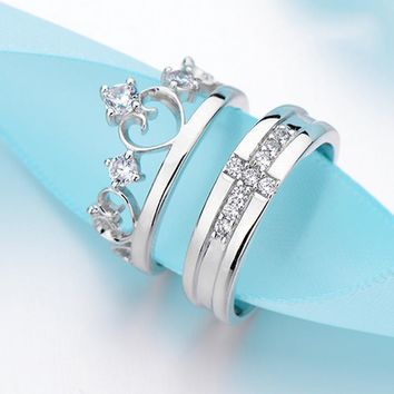 Cool Fashion Her King And His Queen Crown Open Ring For Women Men 925 Sterling Sliver Couple Wedding Ring AAA CZ Promise JewelryAT_93_12