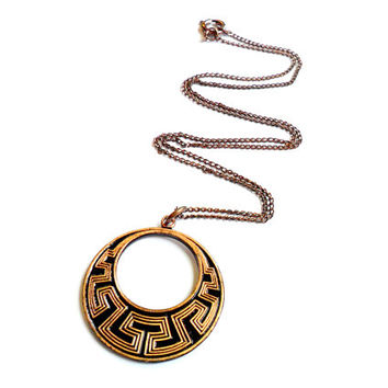 Vintage Copper Necklace - Southwestern Style - Black Enamel - Circle Pendant - Solid Copper - 1970s 70s Style -