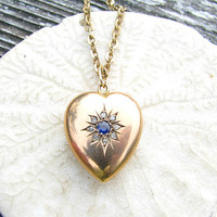 Antique Diamond Sapphire Gold Heart Pendant Necklace, Rose Cut Diamonds, Rich Blue Sapphire, Solid 9K Gold, English Hallmarks, Circa 1909