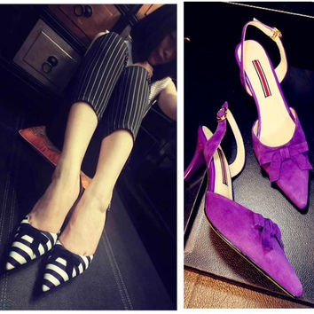 Stylish Design Summer Butterfly High Heel Pointed Toe Leather Shoes Sandals [4919872452]