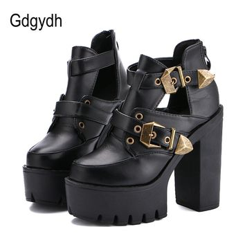 Gdgydh 2017 Spring Autumn Women Pumps Round Toe Platform Thick High Heels Women Shoes Casual Cut-outs Fashion Buckle Size 35-39