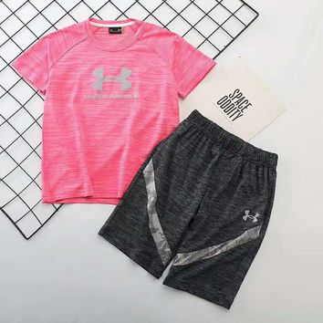 Under Armour Girls Boys Children Baby Toddler Kids Child Fashion Casual Shirt Top Tee Shorts Two Piece Set