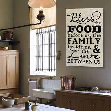 Bless The Food Before Us The Family Beside Us And The Love Between Us Canvas Wall Art