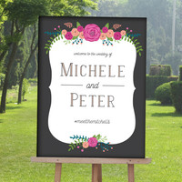 Unique Wedding welcome Sign with Bright Flowers, Floral wedding sign, Modern wedding signs, Wedding signs wood, Wedding Signage