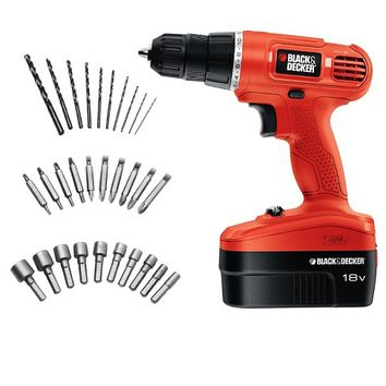 BLACK+DECKER™ 18v Cordless Power Drill/Driver with 30 Bonus Accessories
