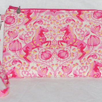 """Handmade Essential Wristlet Tula Pink """"Pony Play"""" with Scribbles Lining, Sunrise Pink and Orange, Great Bridesmaid gift"""