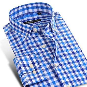 Bright Color Plaid Men Business Casual Shirts Long Sleeve High Quality Cotton Men Dress Shirt