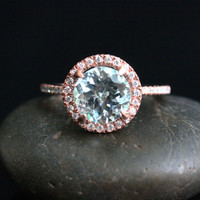 Stunning Aquamarine Ring Engagement Ring in 14k Rose Gold with Aquamarine Round 9mm and Diamonds