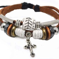 4030058 Christian Religious Scripture Inspirational Cross Leather Bracelet:Amazon:Jewelry