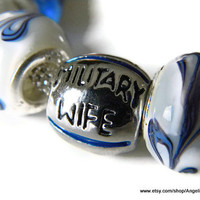 Military Wife European Charm Bracelet with Murano Glass Beads