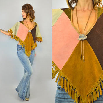 PATCHWORK vtg 70s pastel fringed country western boho hippie suede NEAPOLITAN PONCHO, one size fits all