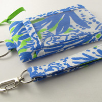 Lilly Pulitzer fabric ID Wallet Lanyard Student ID Case Badge Holder