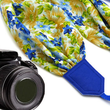 Flowers scarf camera strap. DSLR / SLR Camera Strap. Camera accessories. Yellow and blue camera strap for Canon, Nikon, Fuji & other cameras