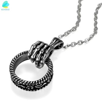 BONISKISS Stainless Steel Skeleton Paw Hand Pendant Necklace With Chain