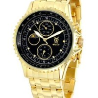 Konigswerk Mens Gold Tone Bracelet Watch Black Dial Multifunction Crystal Markers SQ201477G