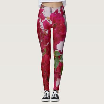 Red Bougainvillea Leggings