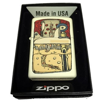 Zippo Custom Lighter - Zippo Guts Illustration - Regular Cream Matte 216CI001647