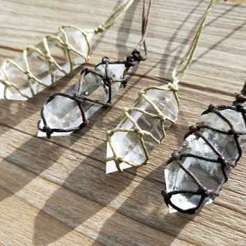 Handmade Natural Crystal Point Necklace