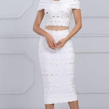 Couple Up Short Sleeve Off The Shoulder Crop Top Midi Two Piece Bodycon Bandage Dress