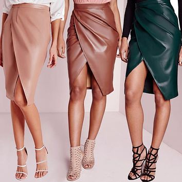 Skirts Womens Leather 2016 Spring Autumn PU Midi Skirt High Waist Work Sexy Slit Club Wear Bandage Bodycon Pencil Skirt Vestidos