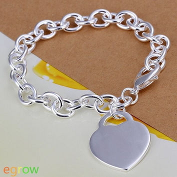 Stylish Silver Plated Solid Heart Pendant Thick Chain Bracelet (Color: Silver) = 1842979908