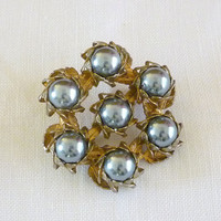 Black Faux Pearl Pin Brooch