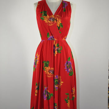 vintage red floral silk dress / sleeveless floral print wrap dress / Red Sunflowers dress