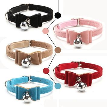 PEAPGB2 2016 Safety Elastic Quick release bow tie with bell small dog cat collars safe soft velvet 5 colors pet Products free shipping