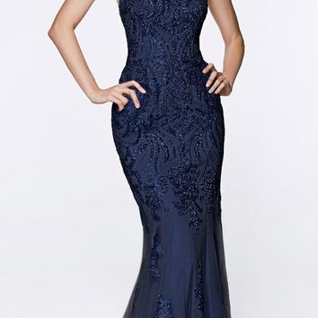 Fitted Embellished Lace Gown Navy Blue Illusion Beaded Straps Open Back