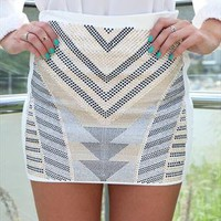 White Tribal Stud Skirt  from xeniaeboutique