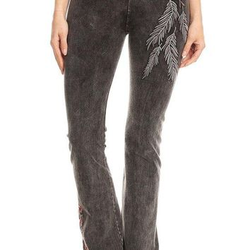 Mineral Washed Embroidery Yoga Pants