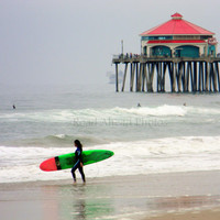 Surfer Girl color photograph, 5 x 7 matted photo, Huntington Beach, photography