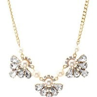 Crystal & Pearl Collar Necklace by Charlotte Russe - Gold