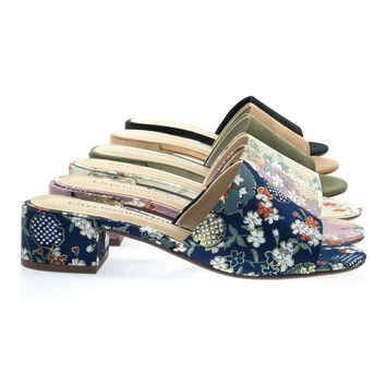 Watson Blue Ginza by City Classified, Low Block Heel Slipper Sandal In Solid & Floral Embroidered. Slide Mule