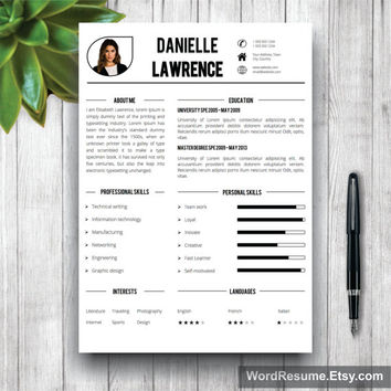 Modern Resume Template, Cover Letter Word, CV Template, Creative Professional Resume Template Design, Resume Template Instant Download