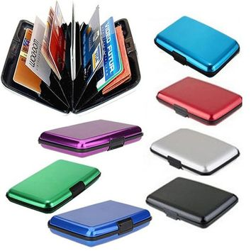 Stylish Glossy Multicolored Pocket Waterproof Wallet Business ID Credit Card Purse Cash Holder Aluminium Alloy(Outer) + Plastic(