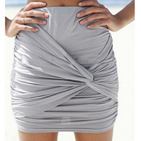 Wrap Draped Slim High Waist Mini Skirt
