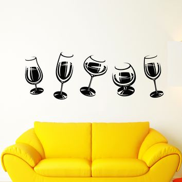 Vinyl Wall Decal Alcoholic Cocktail Party Wine Glasses Party Decoration Stickers (2475ig)