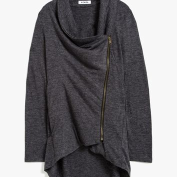 Zip Up Wrap Sweater