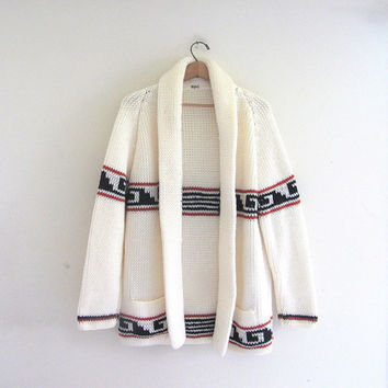 vintage southwestern cardigan sweater / thick knit white sweater coat