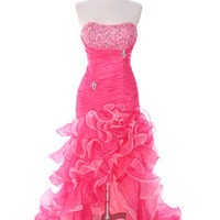Hot Pink Prom Dresses, Hot Pink Long Evening Dress, Hot Pink Formal Gown from Sung Boutique Los Angeles