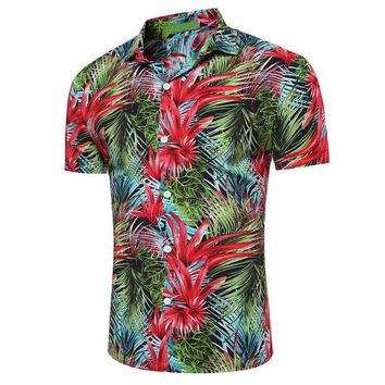 Men's Vintage Hawaiian Look Short Sleeve, Casual , Comes in Several Floral Designer Color Choices Button Down Shirt . Sizes Small thru XXXL