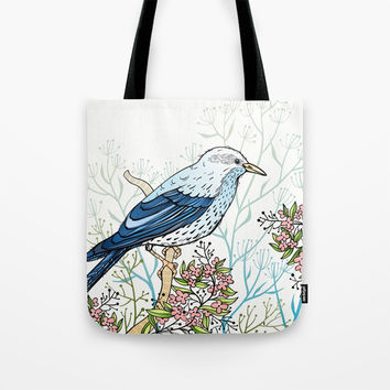 Blue Bird Tote Bag by MIKART